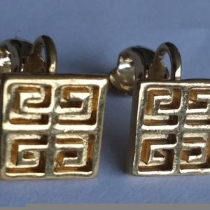 """Vintage GIVENCHY Gold Tone Clip On Earrings 3/8"""" W"""